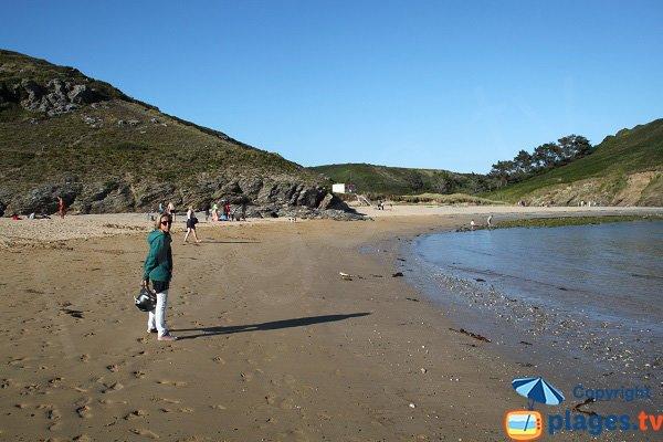 Both parts of Herlin beach in Belle Ile en Mer in France