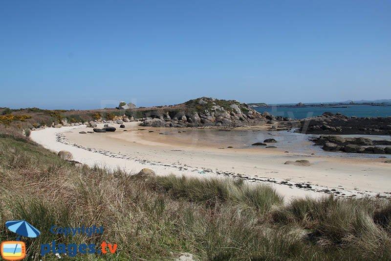 Plus belle plage de l'ile de Callot dans le nord de la Bretagne