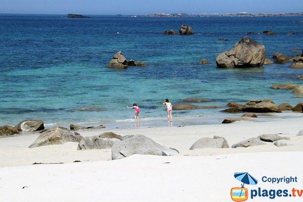 Baignade sur la plage de Karreg Hir - Kerlouan