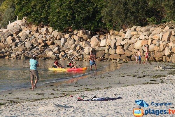 Kayak sur la plage de Keriec
