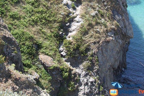 Access to Kouar Huédé creek in Belle Ile