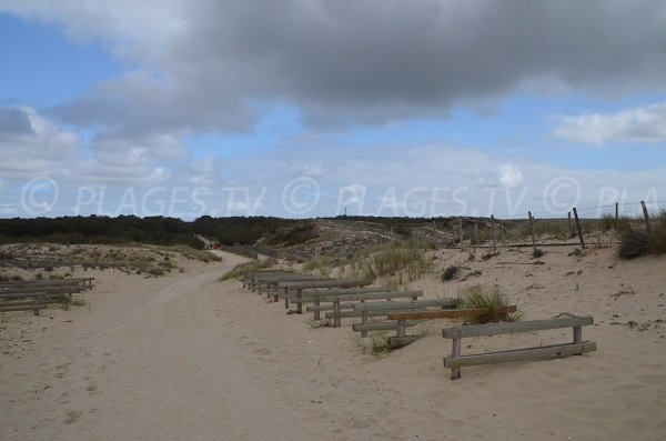 Vue sur le sentier d'accès de la plage de Lacanau Nord depuis le poste de secours