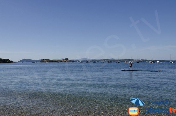 Langoustier beach with Peninsula of Giens view - Porquerolles