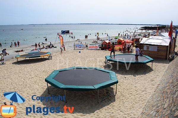 Trampoline sur la plage de Légenèse - Carnac