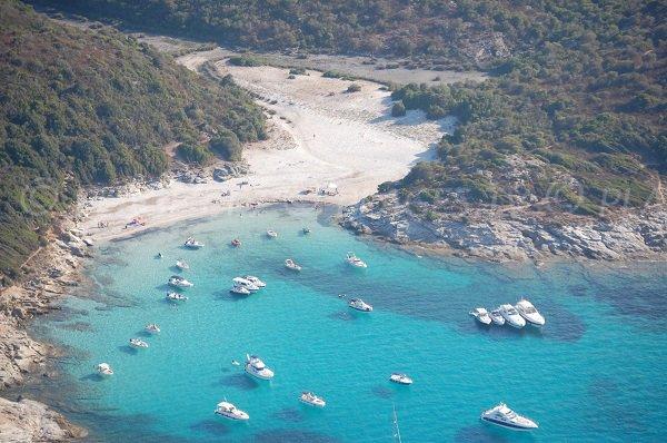 Vue aérienne de la plage du Lotu en Corse - Sant O Pierto di Tenda et St Florent
