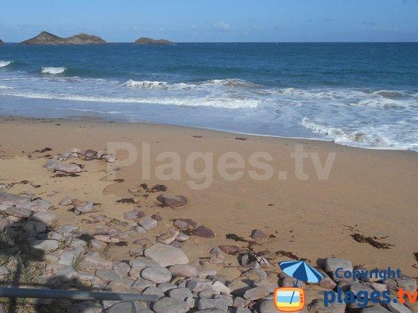 Vue sur les ilots du Chatelets depuis la plage naturiste d'Erquy