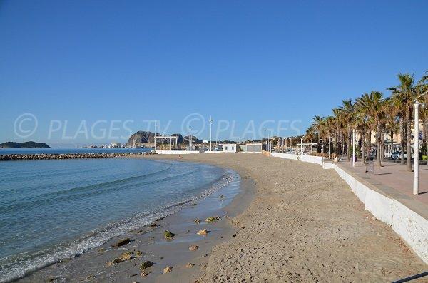 La Ciotat beach with harbor view