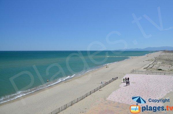 Photo de la plage du Lydia, vue vers le sud, Port Barcarès