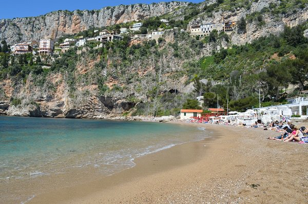 Mala beach with its restaurants - France