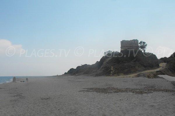 Beach in Aléria and Diane tower - Corsica