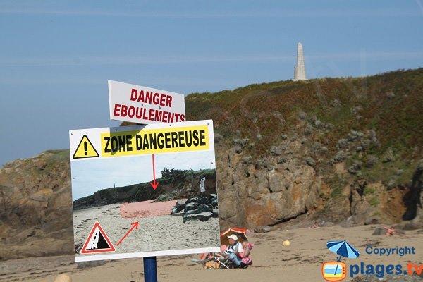 Zone dangereuse de la plage de la Mare - Saint Cast