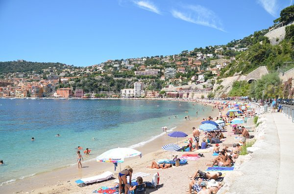 Mariniere beach of Villefranche sur Mer in summer