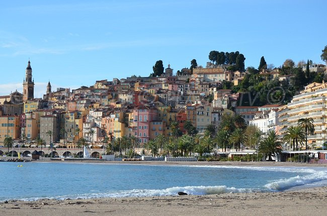 View on the old city of Menton from the beach