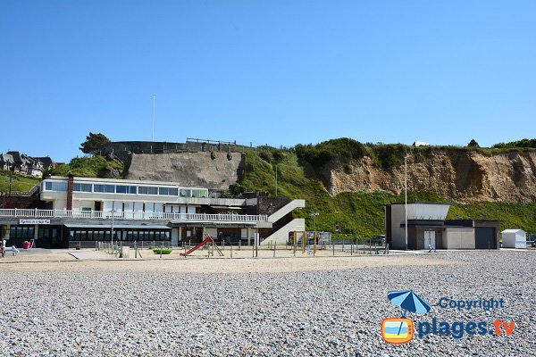 Restaurant and first aid station on Mesnil Val beach in Criel sur Mer