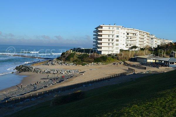 Vue globale de la plage de Milady à Biarritz