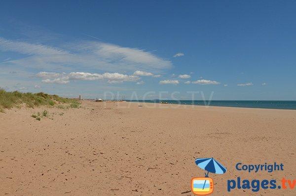 Photo de la plage des Mimosas de Vendres en direction de Valras