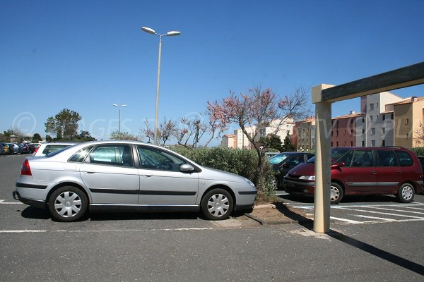 Car park of the Mole beach in Cape d'Agde