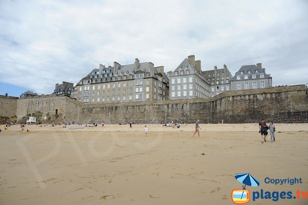 Old city of St Malo from the Mole beach - France