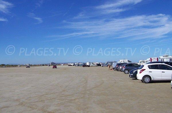 Parking de la plage des Montilles à Port la Nouvelle
