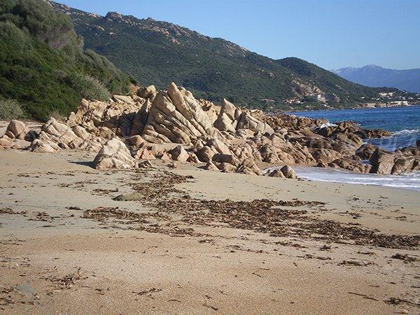 Criques sur la plage de sable de Moorea à Ajaccio