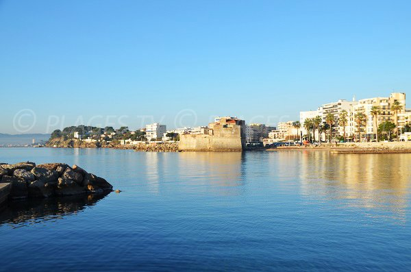Lido beach in Toulon and fort Louis view