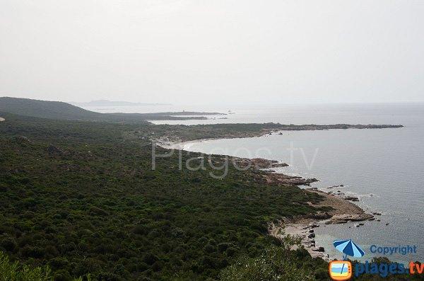 Veduta panoramica della spiaggia di Mucchiu Biancu