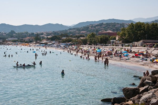 Public beach in Ile Rousse in summer