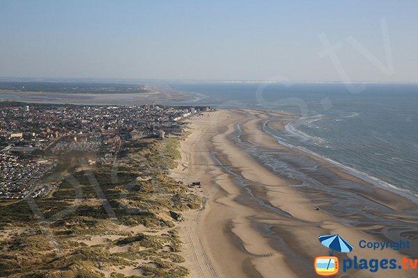 Photo de la plage naturiste de Berck vue du ciel