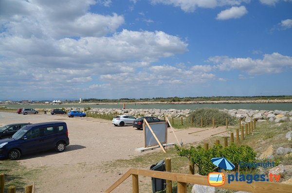 Parking of naturist beach in Fleury d'Aude