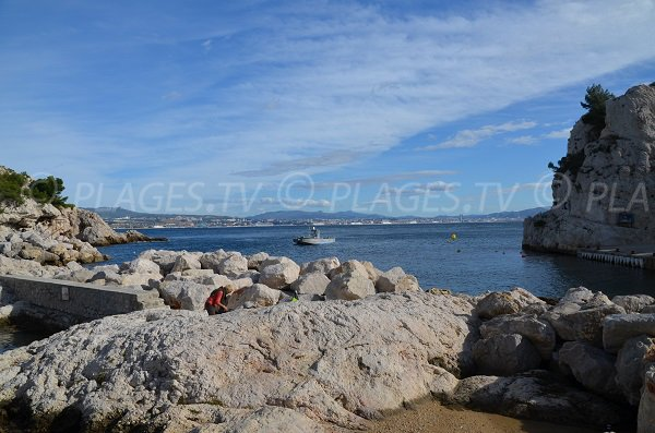 Rocks in Niolon calanque with view on Marseille