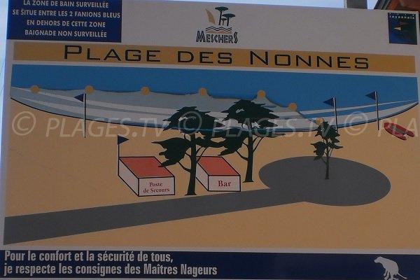 Panneau indiquant la zone de surveillance de la plage des Nonnes