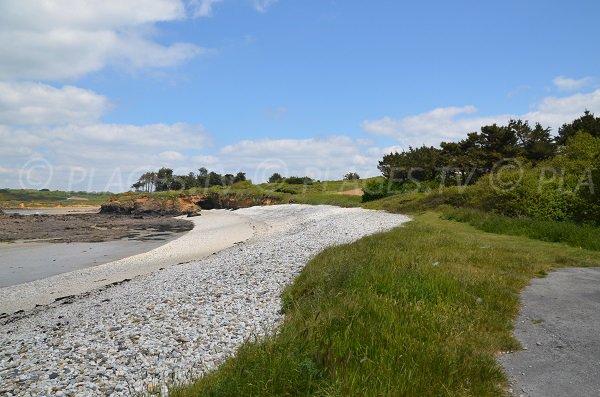 Grass area on the Notinau beach in Camaret sur Mer