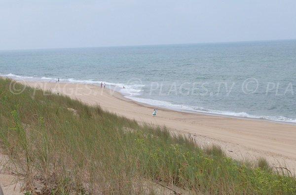 Ocean beach in Soustons in France