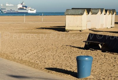 Ouistreham beach with huts