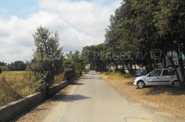 Parking of Padulone beach in Cervione