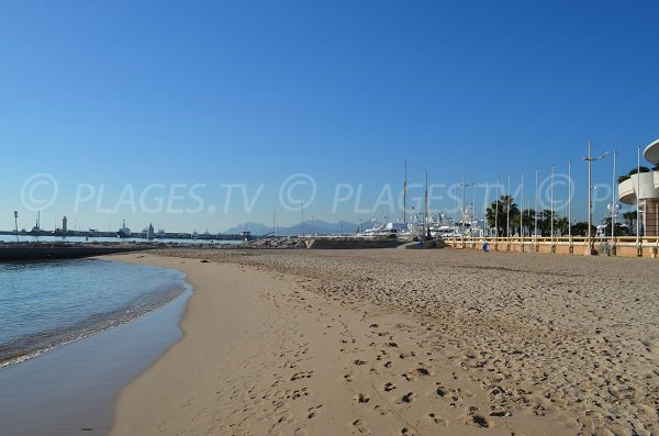 Cannes harbor and Esterel massif from the beach of Cannes