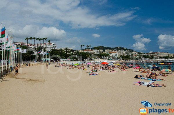 Palais des Festivals beach in Cannes in summer