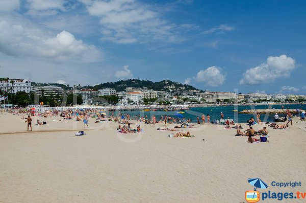 Beach in Cannes and view on the city