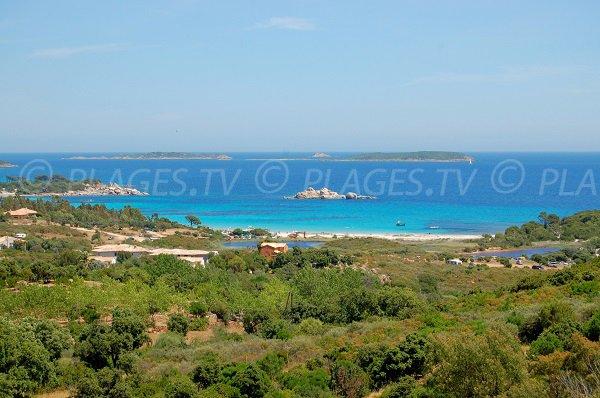 Palombaggia avec les étangs, la plage et les Iles Cerbicale