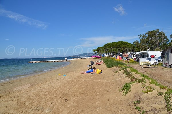 Beach with a campsite in La Londe les Maures