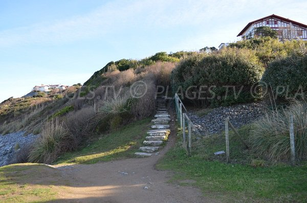 Escaliers pour accéder à la plage de Parlementia
