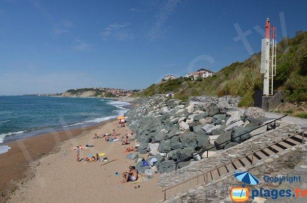 Parlementia beach near the center of Guethary