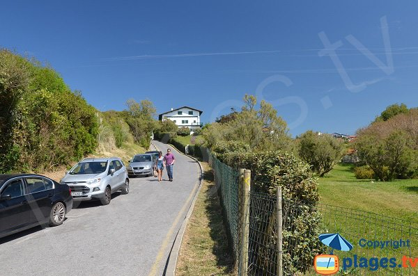 Parking of Parlementia beach in Guethary