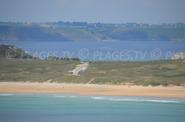 Parking of Pen Hat beach on the peninsula of Crozon