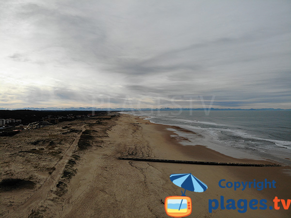 Plage du Penon à Seignosse en direction du sud