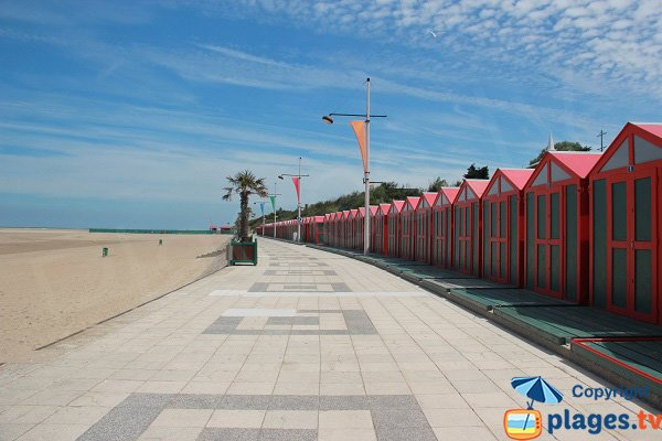 Huts on the Gravelines beach in France