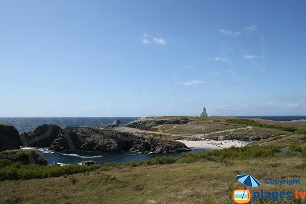 lighthouse and Poulains Beach in Belle-Ile