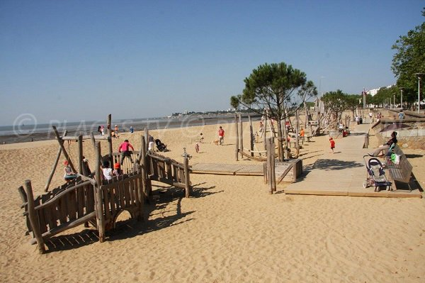 children's play area on the Petit Traict beach in St Nazaire