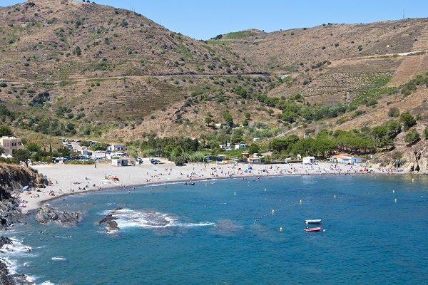 Vue aérienne de la plage de Peyrefite de Cerbère