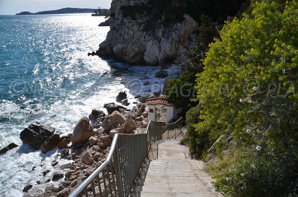 Stairs of Pissarelles beach in Cap d'Ail